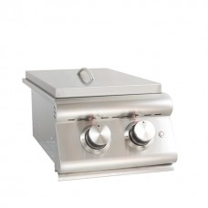 Blaze LTE Built-In Gas Stainless Steel Double Side Burner With Lid - BLZ-SB2LTE